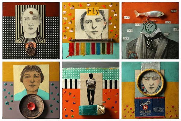 A collage of collages featuring drawings of faces and mixed media