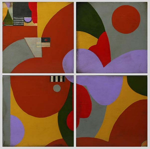A collage of abstract paintings in bold yellow, red, and lavender