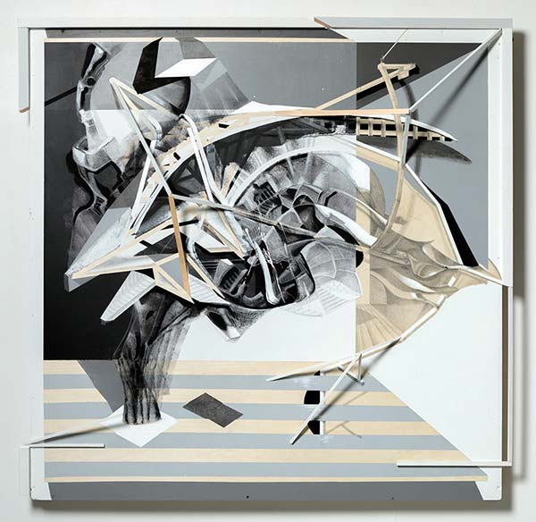 An abstract beige and grey painting featuring architectural imagery