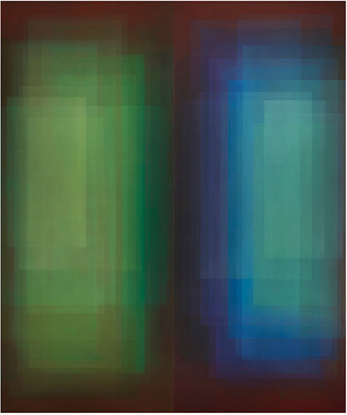 An abstract painting of a box of green and a box of blue next to each other