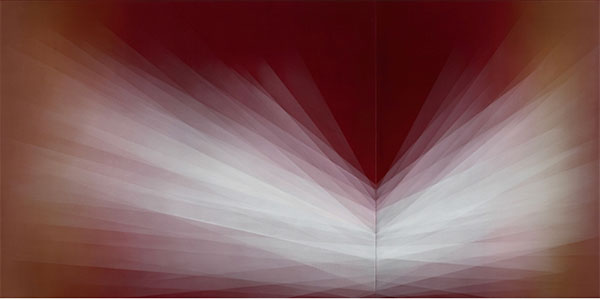 A red and white oil painting looks like refracted light
