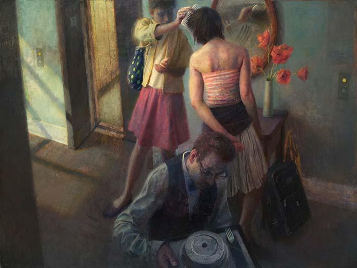 Hotel Corridor oil on canvas 54'' x 72'' By Paul Fenniak
