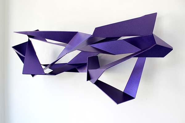 Fraktal #2 steel / lacquer 35'' x 13'' x 13'' by Hans Schule