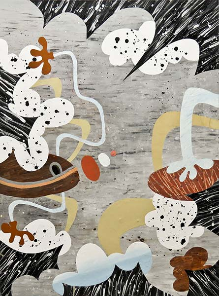 An abstract painting with a grey background and black and white-and-black spotted shapes throughout