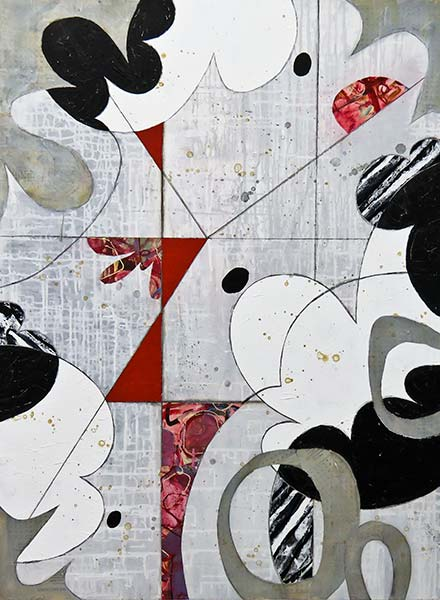 An abstract painting. Most of the background is grey, with black and white cloud-like shapes throughout, as well as red triangles.