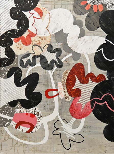 An abstract painting. A neutral grey background with red, grey, white, and black cloud-like forms throughout