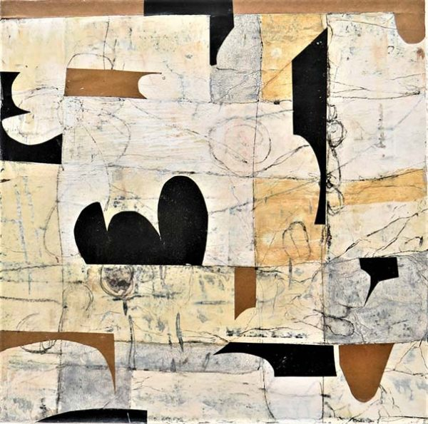 An abstract painting featuring neutral squares of varying shades of tan and brown