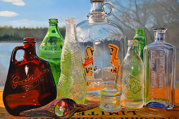 A hyperrealistic painting of a small collection of glasses